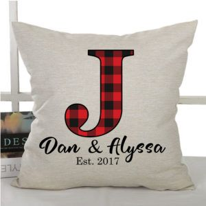 Buffalo plaid Personalized Initial pillow is a great addition to your holiday decor