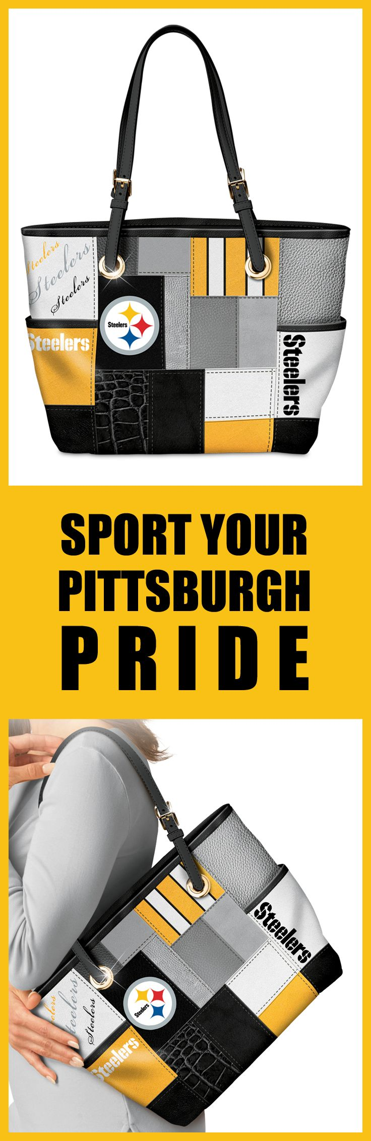 Carry your love for the bold Black and Gold with this Pittsburgh Steelers Tote Bag!