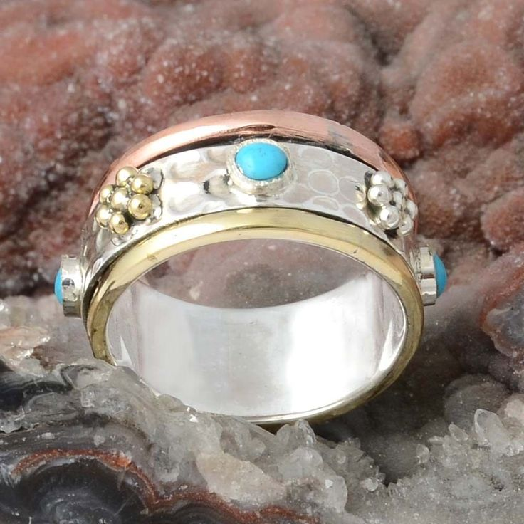 925 SOLID STERLING SILVER TURQUOISE RING 6.87g DJR9899 SZ-9 #Handmade #Ring