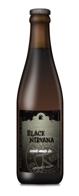 Black Nirvana Öl / En belgisk stark ale med vinösa toner, en viss sötma från kandisirap, en djupt rödbrun färg och med en dold, mild accelererande beska. Kan avnjutas solitärt eller till en lite kraftigare måltid, samt gärna till ostar eller korvar av det smakrikare slaget.