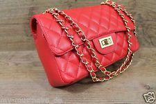 Made in Italy Handtasche Abendtasche Clutch Kette Nappa-Leder gesteppt Rot