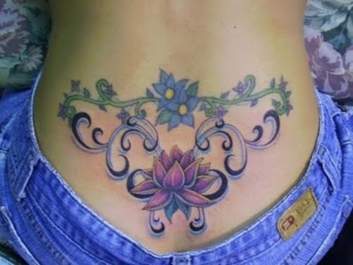 Scrollliness of bottom design, but say NO to lower back tat!!