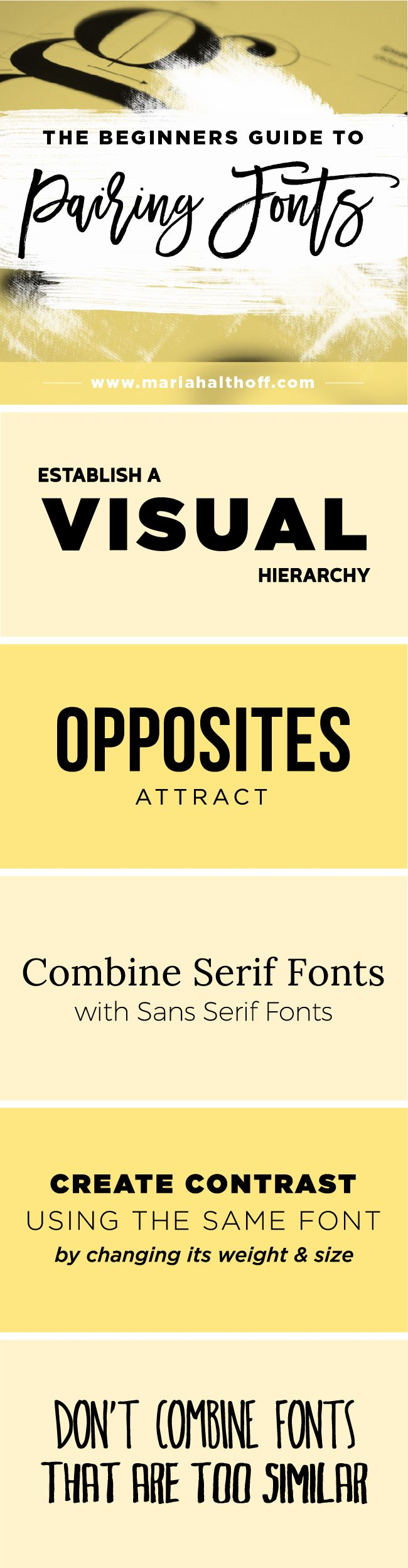 "How to create an impactful font pairing is important for any DIY graphic designers and entrepreneurs. Click through to read the rest of the post, ""How to Choose the Best Font Pairing for your Brand"" and save this infographic for later!"