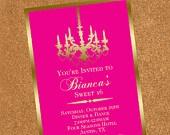 Sweet 16 Invitation-Gold Chandelier-Digital Printable File: 16 Invitationgold, Invitationgold Chandelierdigit