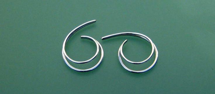 DOBBELTSPIRAL V 27s Sølv    Til ører uden huller