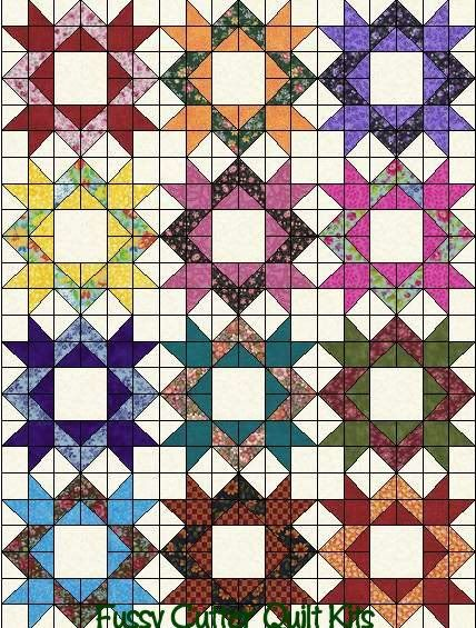 Scrappy Floral Calico Blenders Fabric Diamond Star Fast Easy Pre-Cut Patchwork Quilt Blocks Top Kit