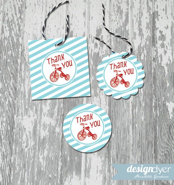 These printable favor tags / stickers are the perfect addition to your classic red tricycle party or shower!