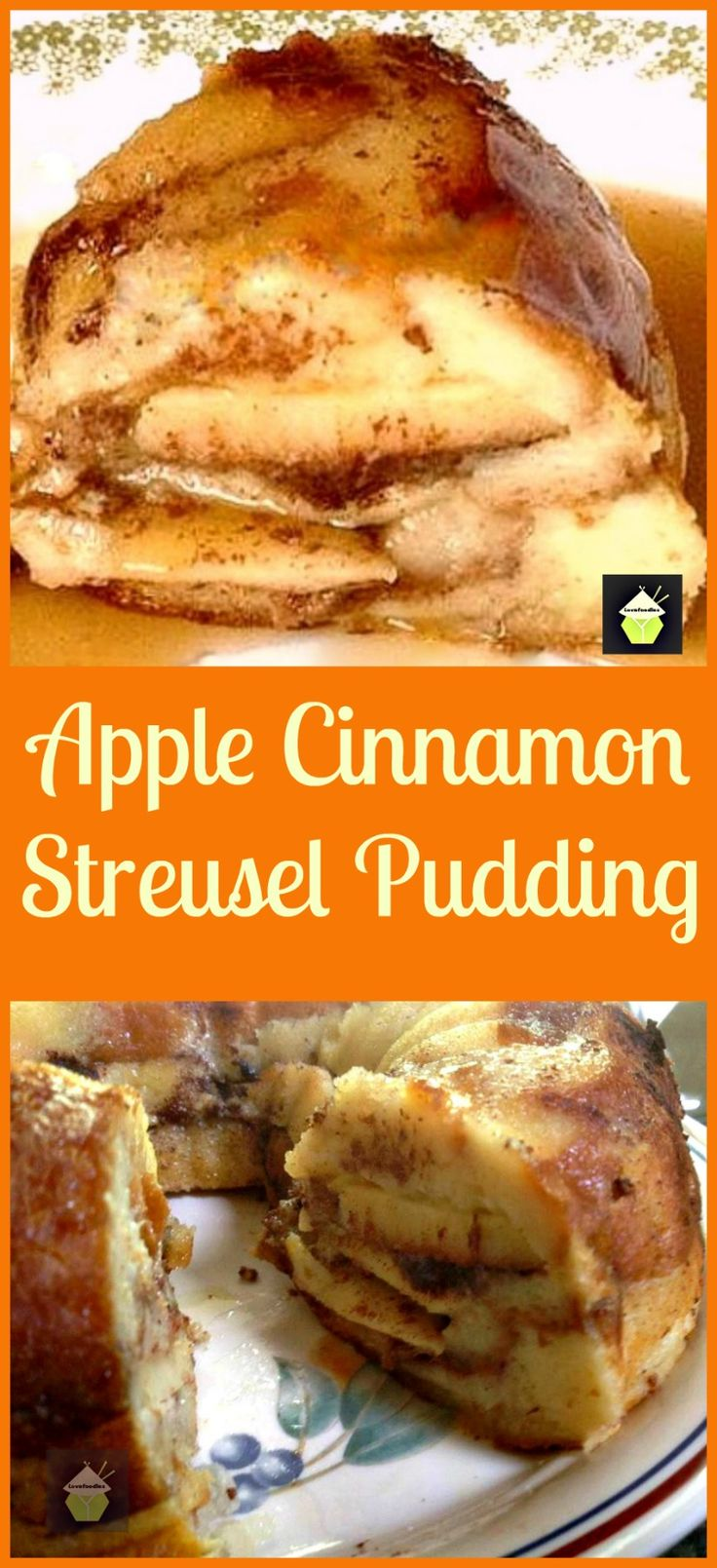 Fluffy Apple Streusel Swirl Pudding - A wonderful bread and butter dessert, best served warm with a drizzle of Maple Syrup or a blob of ice cream..or both! Similar to French Toast only much fluffier. This is a great one for freezing whole or in portions too!