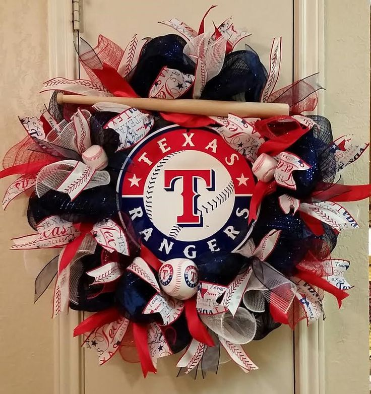 Texas Ranger Baseball Wreath,Baseball Wreath,Pro Team Wreath, Deco Mesh Wreath, Sport Wreath,Sport Decor,Father Day,Birthday, Special Order by SouthTXCreations on Etsy