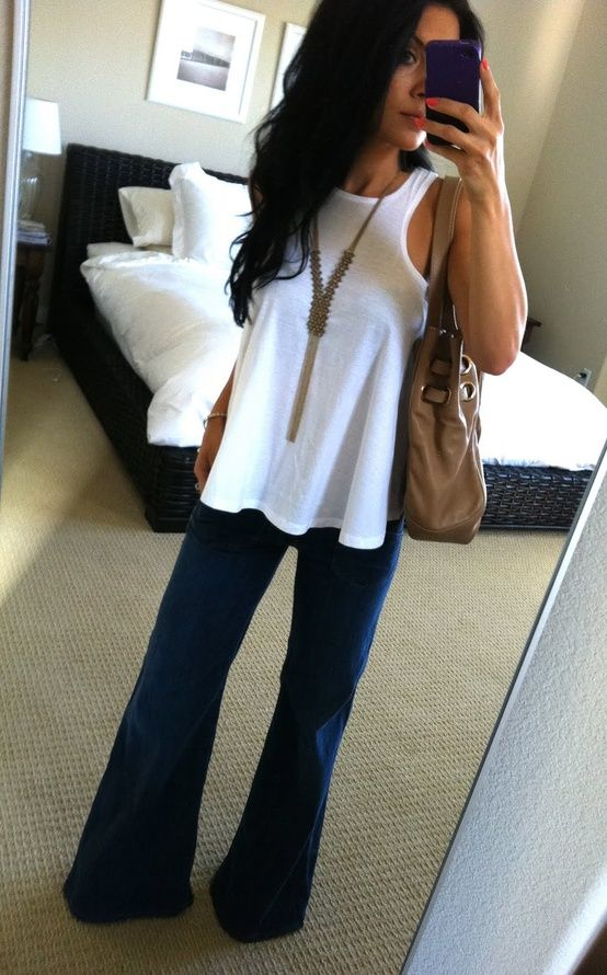 wide leg jeans white tank. Hair necklace! Love!!! Can't wait to wear regular clothes again!!! Come on baby boy mommy is ready for ya!! :))