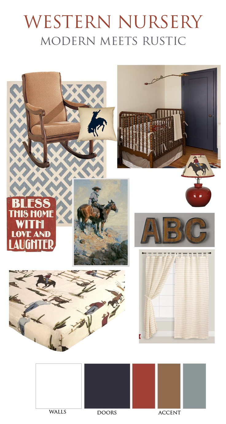 Western & Cowboy theme nursery, Cool blue colors with a rustic feel