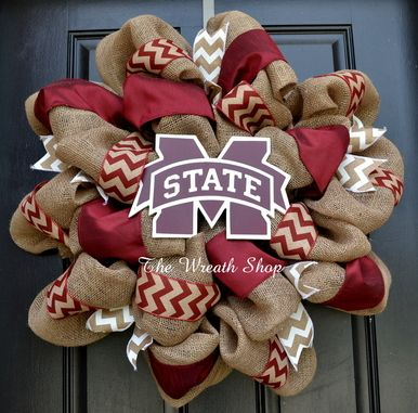 Mississippi State Burlap Wreath with Chevron