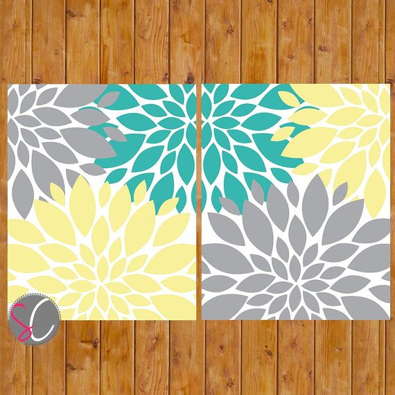 Floral Flower Burst Gray Yellow Teal Set of 2  Wall Baby Decor Bedroom Bathroom  8x10 High Resolution JPG Files Printable Instant Download on Etsy