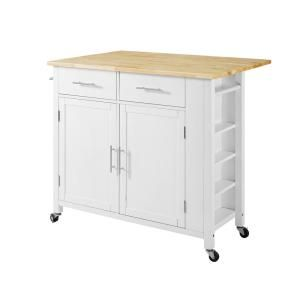 Crosley Furniture Savannah White With Wood Top Drop Leaf Kitchen Island Cf3031na Wh The Home Depot Kitchen Island Cart Drop Leaf Kitchen Island White Kitchen Cart