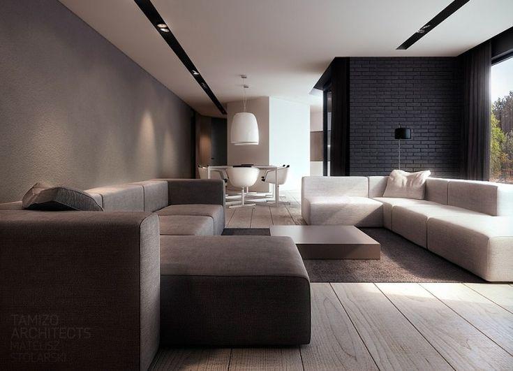 canapé en cuir marron et canapé blanc modulable dans le salon ...