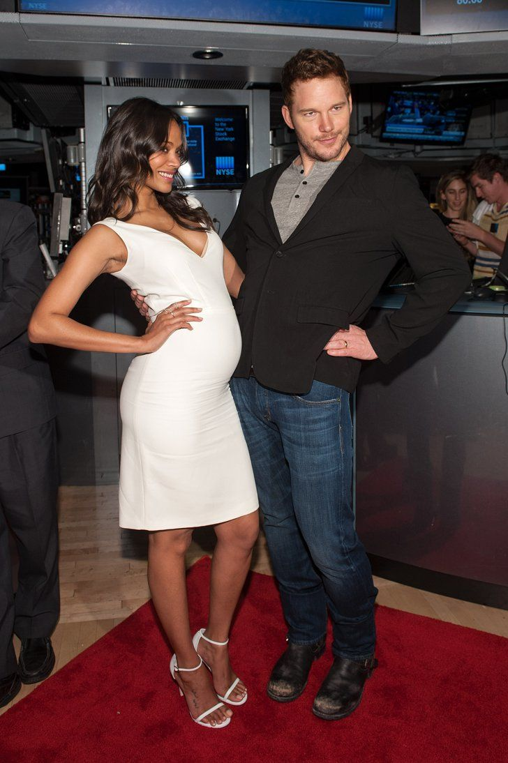 Pin for Later: Can't-Miss Celebrity Pics!  Zoe Saldana and Chris Pratt goofed around at the NY Stock Exchange on Tuesday morning.