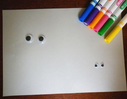 DIY for kids: Wiggly Eye Drawing Starter by House of Baby Piranha, http://www.houseofbabypiranha.com/2012/07/wiggly-eye-drawing-starter.html