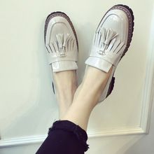 2015 de invierno de corea mujeres de charol talón grueso de las borlas sólido cuña de la plataforma zapatos sin cordones mujer(China (Mainland))