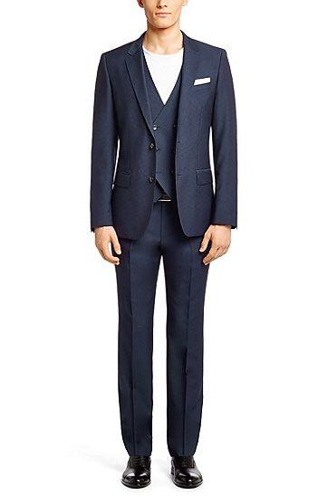 Boss - Anzug mit Weste ´Hendrison/Geron WE` aus Schurwolle, Dunkelblau (€ 629,-).