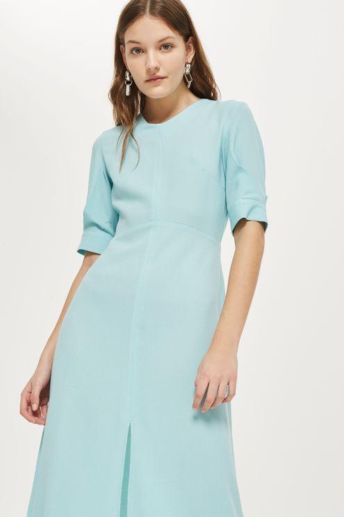 Seamed Crepe Midi Dress