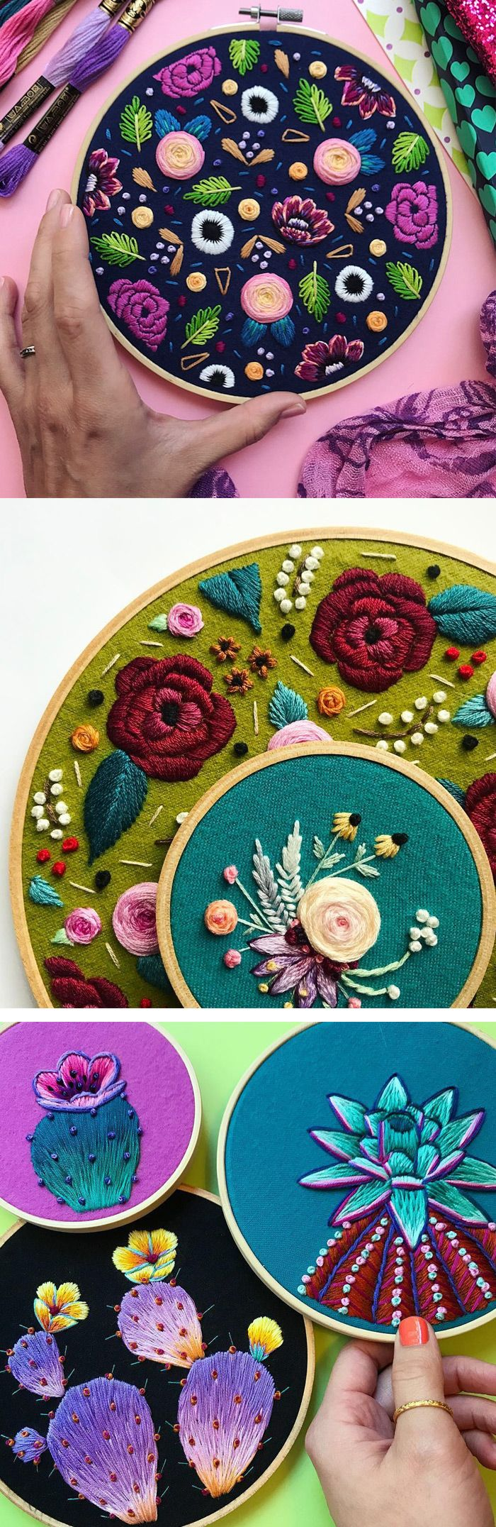 Embroidery by Marable Lake // hoop art // cactus embroidery
