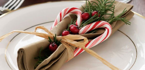 This would be fun to create to dress up the Christmas eve dinnner table!  Clip a small branch from the Christmas tree, add  a couple candy canes and a rafia bow to your cloth napkin and you're set!  Merry Christmas!