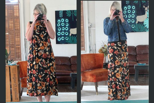 Yoga-Waistband-Maxi-Skirt-Before-and-After I need to start looking à dress at the thrift store to try this
