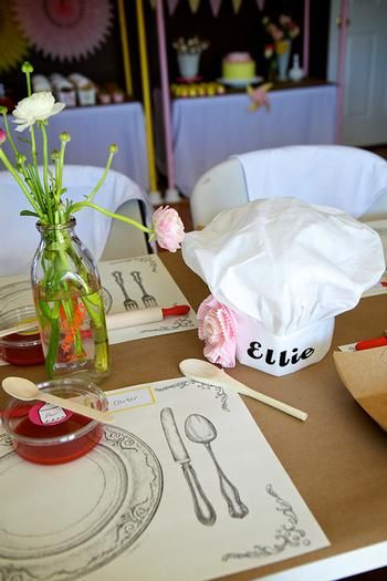 Hats with names and flowers; great placemats