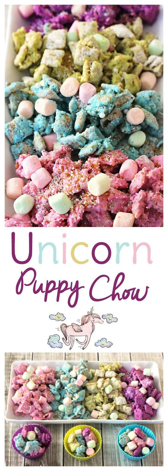 Use blueberry Chex mix and fruity marshmallows to make this delicious unicorn puppy chow (or muddy muddies if you prefer) Perfect for a unicorn birthday party or just a fun gluten free snack for kids.