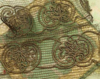 """Sacco di passamaneria trim raro metallo 4.5"""" maglia larga pizzo traforato tessere applique ribbonwork scatole progetti oro patina vasta da 1,5"""""""