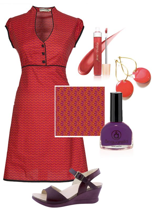 Summer is comming... Ecoutures Jobi-dress styled with accessories: Our Corall Dot-earrings, Aquarella is doing wonderful nail polishes, the only truly safe nail polish that is both water-based and non-toxic, shoes from Martin Natur. And we really like this Jane iredale lip gloss.