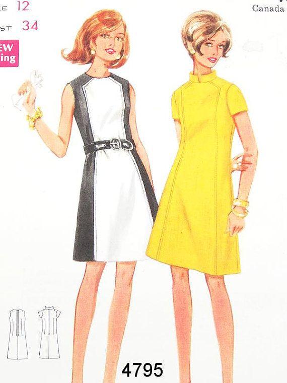 Vintage 60s Dress Pattern Butterick 4795 - Misses' One Piece Dress - SZ 12/Bust 34