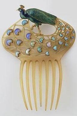 Lalique 1905 Peacock Comb