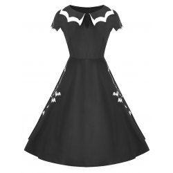Halloween Bat Net Vintage Plus Size Dress - Black 5xl Flat Collar Short Sleeves
