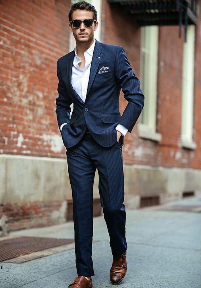 homme slim costume bleu marine chemise blanche coupe étroite e985c3d7eb3