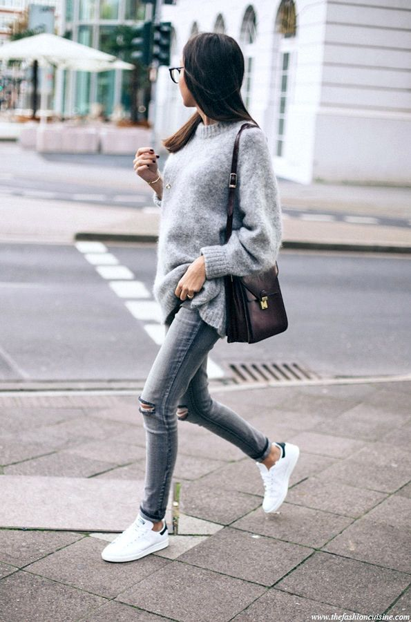 THIS SWEATER LOOKS SO SOFT!!!! I love this monochrome look. Would rather see the shoes be white keds.