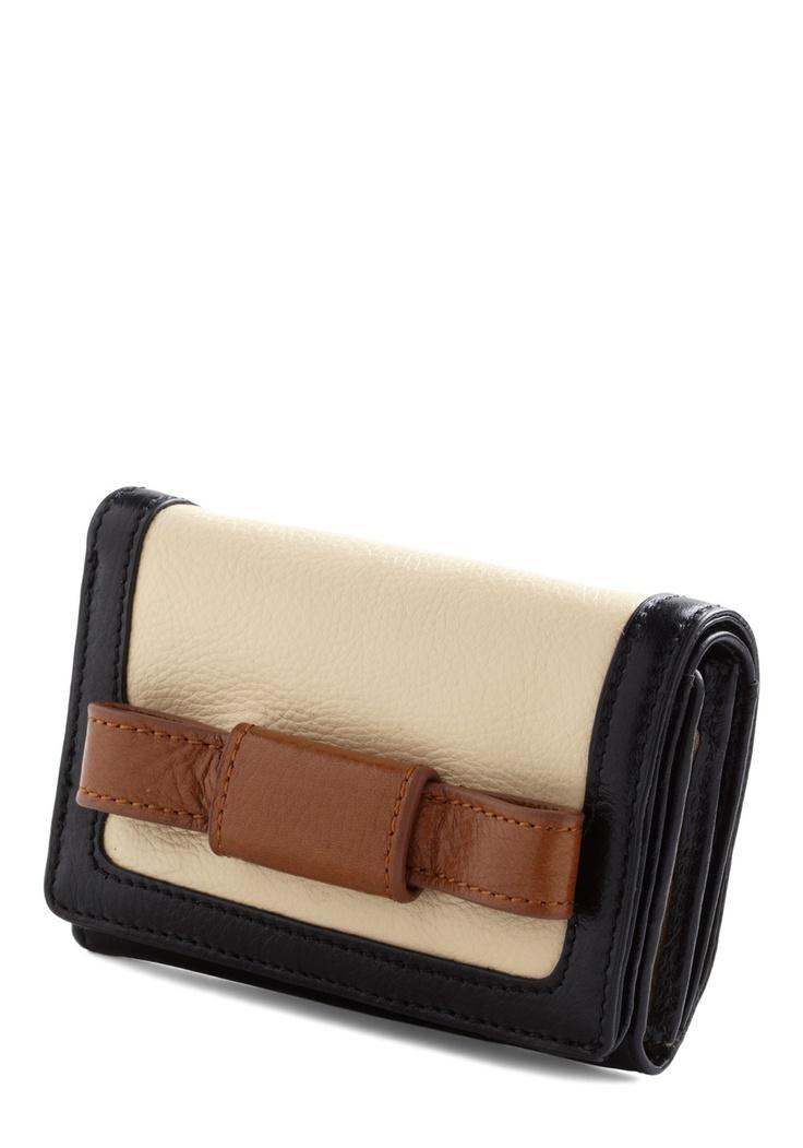 Orla Kiely Cash on the Bow Wallet by Orla Kiely - Multi, Brown, Tan / Cream, Black, Color Block, Bows