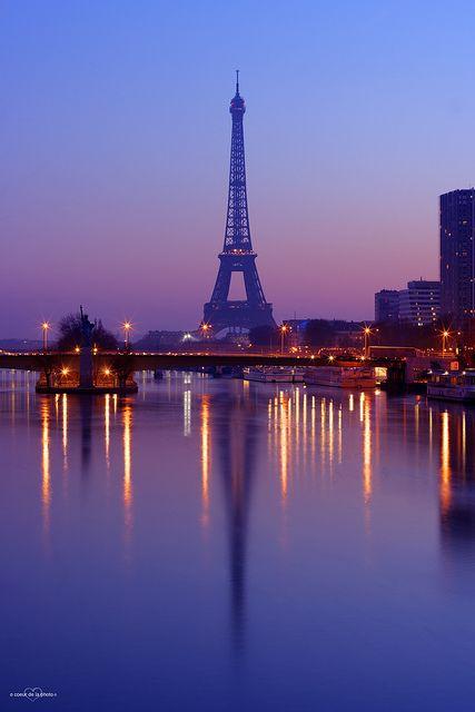 Paris - La nuit tombe sur l'Ile aux Cygnes et la Tour Eiffel // Night above the Eiffel Tower and Swans Island in Paris