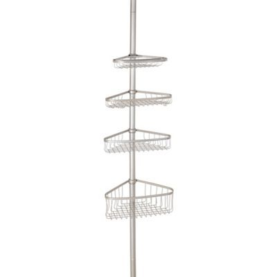 Utilize the most of your shower space with the InterDesign York Constant Tension Corner Shower Caddy. Featuring 4 large adjustable height baskets with 2 sponge hooks, this caddy extends from 5 to 9 feet and features non-skid rubber feet for stability.