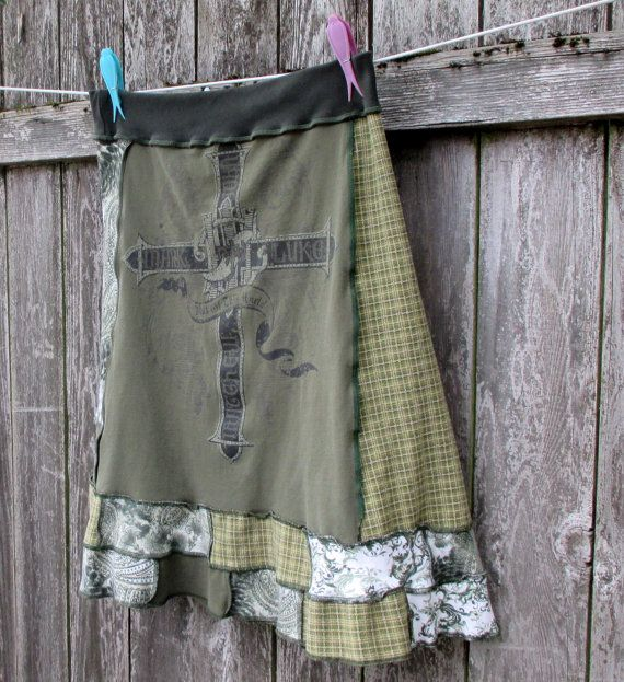 Not of This World Recycled Skirt T Shirt Skirt Upcycled Plus