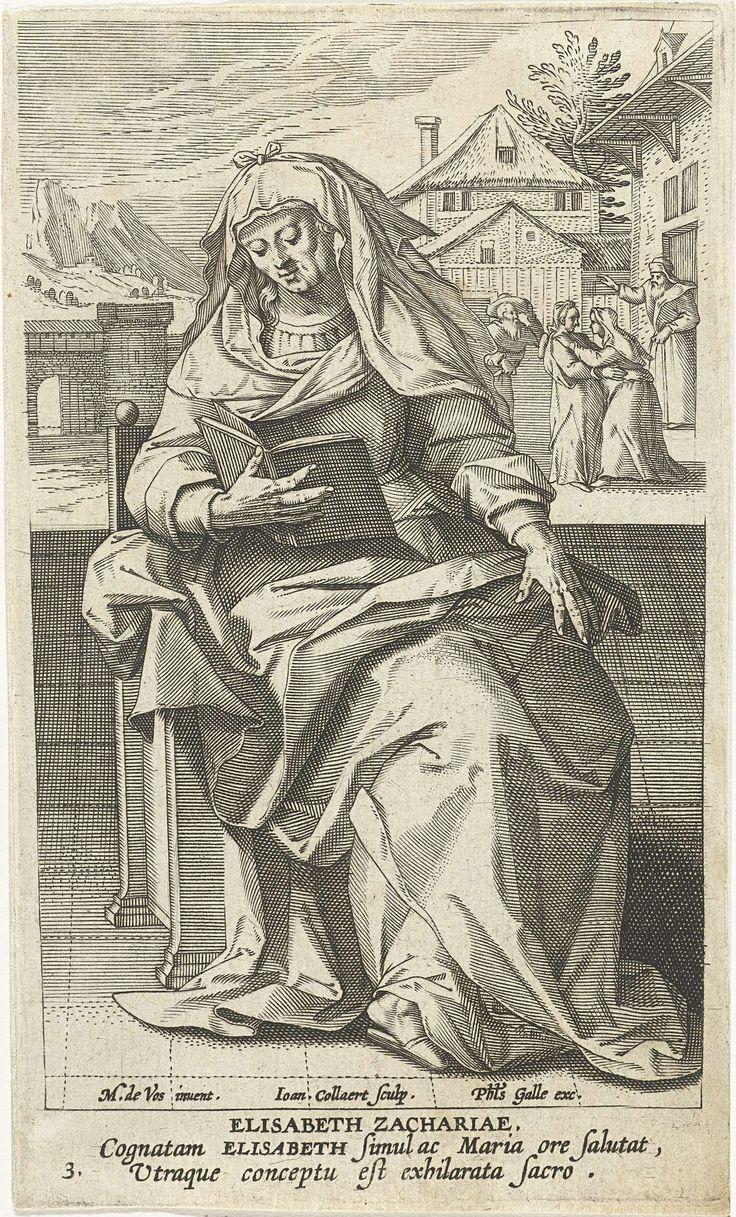 Jan Collaert (II) | Heilige Elisabet, Jan Collaert (II), Philips Galle, Cornelis Kiliaan, 1595 - 1599 | Op de voorgrond de Elisabet, moeder van Johannes de Doper, lezend op een stoel. Op de achtergrond de ontmoeting tussen Elisabet en Maria. De prent heeft een Latijns onderschrift en maakt deel uit van een prentserie met beroemde vrouwen uit het Nieuwe Testament.
