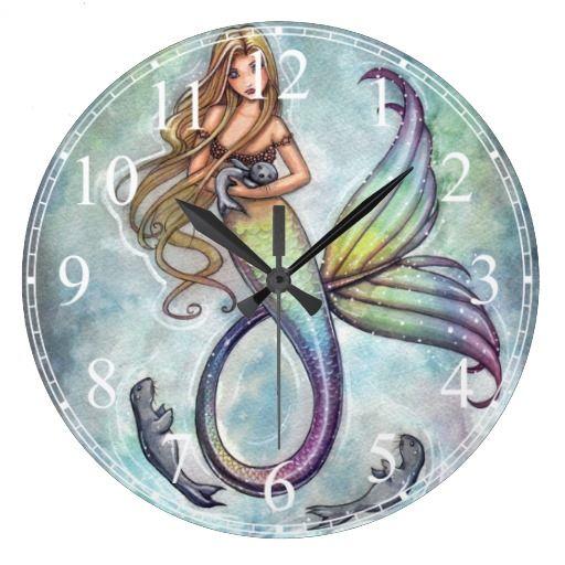 Mermaid with Baby Seals Clock
