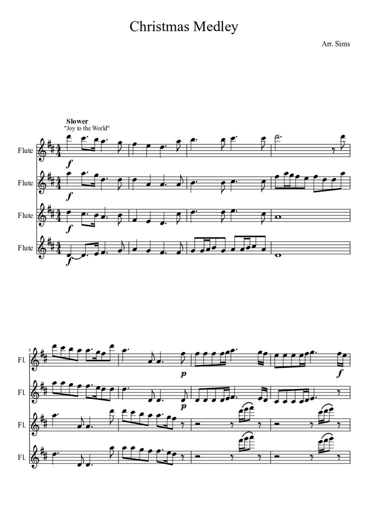 Christmas Medley Flute Quartet | MuseScore. . .we should do this for Christmas