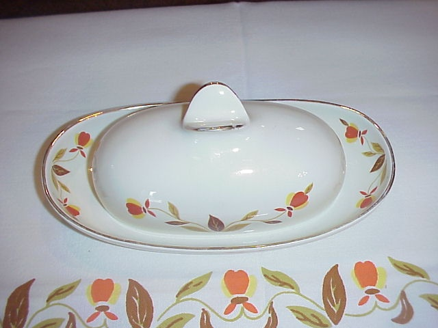rare hall jewel tea autumn leaf wings butter dish & 33 best Jewel Tea Autumn Leaf China images on Pinterest | Jewel tea ...