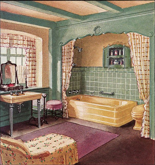 1930 Crane Bathroom Yellow, plum, and green were a favored combination in the late 1920s and early 1930s. This bathroom was published in House & Garden magazine. #nosubwaytile