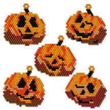 Halloween Jack-O-Lantern Icons Beading Pattern by Charlotte Holley - Beaded Legends by Chalaedra at Bead-Patterns.com