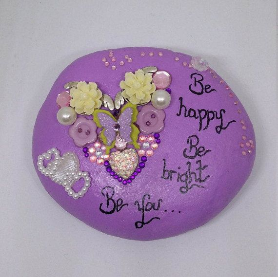 Painted stone ornamenthome decor by Pebbles4Thought on Etsy