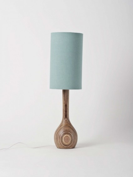 turned table lamp by Workroom - duck egg linen shade: Ducks Eggs, Table Lamps, Living Rooms, Wood Grains, Wooden Lamps, Hands Turning, Turning Tables, Tables Lamps, Wood Lamps