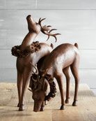 Deer with Pine Cone Wreaths