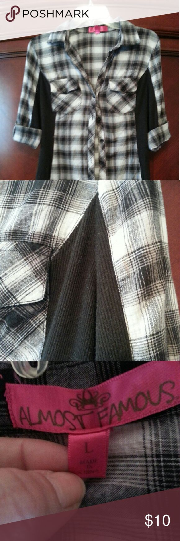 Plaid button down Black and white plaid button down shirt with solid black along sides. Juniors Large Almost Famous Tops Button Down Shirts